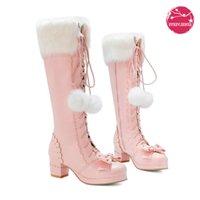 Lolita Botas Altas Inverno Pele Quente Pescoço Meninas Cosplay Party JK Princesa Sapatos Lace Up Bowtie Chunky Salto Side Zipper PU Couro