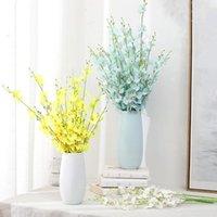 Flores decorativas grinaldas 5 forquilha flor artificial amarelo dançando orquídea para casamento decoração home phalaenopsis buquet seda natal