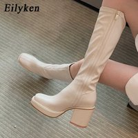 Eilyken New Knee High Boots Women Square Heel Casual Winter Long Boot Shoes Ladies Round Toe Zip Fashion Cool Knight Bootties