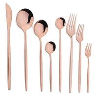Conjuntos de vajillas Jankng Rose Oro Cubiertos Cubiertos Forks Cuchillos Cuchillos Acero Inoxidable Cena de Cena Vajilla