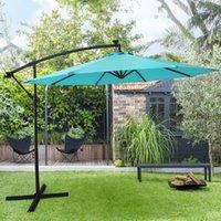 Guarda-chuva fica 10ft pátio deslocamento iluminado pendurado cantilever para quintal, piscina