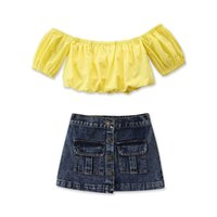 Children Clothing Sets Girls Outfits Baby Clothes Kids Suits Child Wear Summer Short Sleeve Tops Blouses Denim Skirt 2Pcs B6486