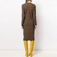 Kadın Tasarımcı Elbiseler Rahat Klasik Örgü Örme Uzun Kollu Elbise Moda Mektup Desen Yaz Kısa Kollu Yüksek Kaliteli Bayan Giyim