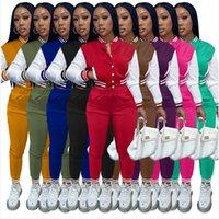 Donne Tracksuits Due pezzi Set Designer Autunno Da Baseball Uniforme Giacche SweatsPants Abiti Sweatsuits Joggers Pantaloni Varsity Abiti 9 colori