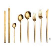 Paslanmaz Çelik Ayna Sofra Sofra Takımı Setleri Altın Bıçak Yemek Kaşık Çatal Çay Kaşığı Sofra Takımı Basit Zarif Batı Yemeği Çatallar HWE8060