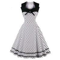 폴카 도트 인쇄 빈티지 드레스 여성 패치 워크 Bowknot 민소매 여름 핀 최대 드레스 코튼 파티 드레스 레트로 Vestidos Y19071101