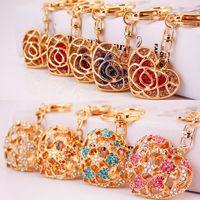 Rhinestone Crystal Moon Star Heart Keychain Keyring For Car Handbag Chram Key Holder Jewelry Purse Charms 9 styles