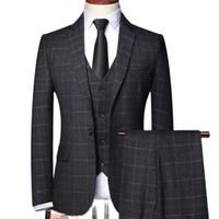 Men's Suits & Blazers 2021 Three-piece Male Formal Business Plaids Suit For Fashion Boutique Plaid Wedding Dress ( Jacket + Vest Pants )
