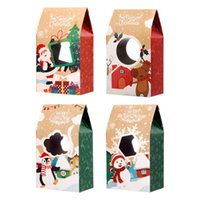 Gift Wrap Hemoton 16pcs Christmas Cookie Boxes Kraft Paper 4 Patterns Candies For Party Holi