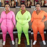 plus size tracksuit fall winter long sleeved jacket trousers 2 pieces set solid color casual sportswear
