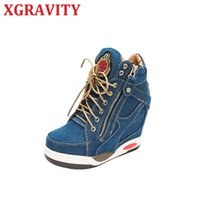 Boots XGRAVITY 2021 Autumn Height Increasing Denim Booties Women Fashion Lace Up High Heels Shoes Lady B057