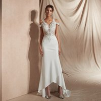 Beach Wedding Dress for Bride, Sequins Lace Applique Sheer Bodice Cold the Shoulder Satin Skirt Hi-Lo Fit and Flare Gown