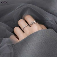 Croxine adjustable for women's simple fashion personality sterling silver cross line ring