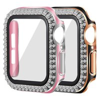 for Apple Watch Series 7 Cases with Tempered Glass Screen Protector Laser Bling Diamond Hard PC Cover 45mm 41mm
