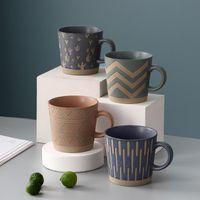 Mugs 350ML Retro Stoare Coffee Cup Office Home Ceramic Tea Milk Handgrip Cups Creative Gift For Friends Drinkware Tool