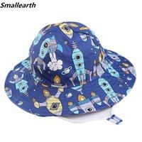 Geniş Brim Şapka Çocuk Güneş Şapka Pamuk Kova İlkbahar Yaz Bebek Erkek Kız Güzel Plaj Kap Çocuklar için Güzel Çizgi Fisherman
