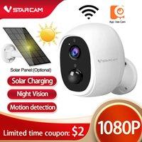 1080p Batería inalámbrica Mini WiFi Cámara recargable 2 vías Audio Aire Libre Seguridad Aparato Aparato WiFi Alarma de Movimiento Solar