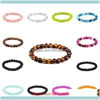 Beaded, Strands Bracelets Jewelryclassic Obsidian Tiger Eye Lava Crystal Ladies Beaded Mens Bracelet Friendship Womens Aessories1 Drop Deliv