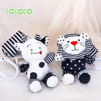 Baby Plush Dolls Toys Infant Rattles with Handbells Stuffed Toy for Crib Mobiles Bed Black White Animal Newborns Christmas Gift