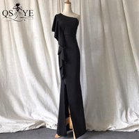 Party Dresses Black Long Evening Stretch Ruffles Prom Gown Slit Ends One Shoulder Dress Simple Plain Women Formal 2021