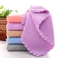Kitchen Towel Coral fleece Soft Wiping Rags Super Absorbent Non-stick Oil Cleaning Cloth Remover Dish Car Hand Towels Lint Free Home Travel Easy to dry JY0767