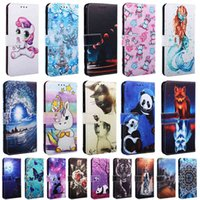 Leather Case For Note7 Note 7 Pro Note7Pro Back Fundas Wallet Card Holder Stand Book Cover Panda Unicorn Painted