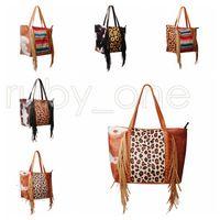 Leopardo Fringe Messenger Saco Listrado Patchwork Borla Crossbody Bags Mulheres Hippie Borlas Sunflower Handbag RRD10097