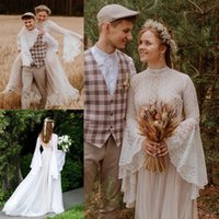 Vintage Country Style Bohemian A Line Wedding Gowns Long Puffy Sleeves High Jewel Neck Boho Lace Tulle Fairy Bridal Dresses Vestido De Noivas Custom Made