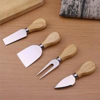 4 pçs / sets Conjunto de facas de queijo conjunto de carvalho punho de manteiga garfo espalhador kit de faca de cozinha ferramentas de cozinha acessórios úteis 254 v2