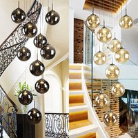Nordic glass ball Pendant lamps chandelier for Staircase black lamp spiral lights G4 stair led lustre hotel stairwell lamparas