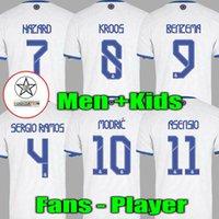 Fan Player Versione 2021 2022 Real Madrid Mbappe Soccer Jerseys Benzema Sergio Ramos Asensio Kroos Marcelo 21 22 Camicia da calcio Bambini Attrezzatura Alaba