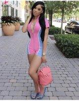 Women's Jumpsuits & Rompers VOLALO Women Sell Reflective Stripe Patchwork Playsuit 2021 Short Sleeve Zipper Turtleneck Female Casual Bodysui