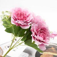 1 Buket Peonies Yapay Çiçekler Ev Dekor Aksesuarları Düğün Vazoları Yemek Masası için Kapalı Mobilyalar Fotoğraf Sahne