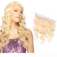 브라질 인간의 머리 613 # 컬러 바디 웨이브 브라질 버진 머리 13x4 레이스 정면 무료 부분 귀 613 # 금발 10-22inch