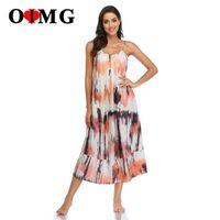 Casual Dresses OIMG 10023 Summer Slip Midi Dress Streetwear Boho Sexy Halter Strap Floral For Women 2021 Brand Drop