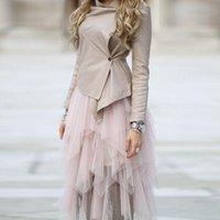 TRENDY CHIC MID CLIM Vols Asymétric Tulle Jupes De Nouveau Design Blush Rose Jupe tutu pour femmes à la taille élastique personnalisée J0204