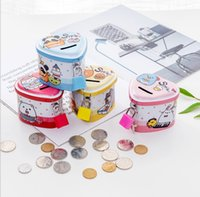 Cartoon Animals Money Box Tinplate Heart Shaped Piggy Bank With Lock Coin Collection For Kids