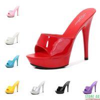 Sapatos mulheres chinelo verão fino salto 13 cm chinelo feminino fêmea slides à prova d 'água plataforma de sandália fundo sexy sapatos stripper bombas nova