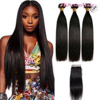 10a Remy Brésilien Remy Vierge Virgin Virgin Hair Extensions 3PCS avec une fermeture de dentelle de 4x4inch Fermeture de dentelle indienne Péruviennes banals malaisiens Teins
