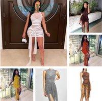 8 ألوان حار بيع بلون تنورة قصيرة ربيع جديد المرأة مصمم أزياء منظور شبكة مثير عارية الذراعين سليم حقيبة الورك فساتين