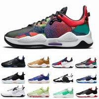 2021 En Yeni Paul George PG 5 V Erkek Basketbol Ayakkabıları Clippers Bred Mavi Toz Biber Turşusu Çok Renkli Oreo PlayStation PG5 eğitmenler erkekler Spor Sneakers 40-46