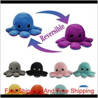 Stuffed Plush Reverse Toys Poulpe Octopu Soft Xmas Gift Double Sided Funny Emotion Pulpo Doll Peluches Squishy H Bbygpa Sabwj Fscix