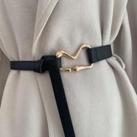 أحزمة بو الجلود للنساء الذهب مشبك رقيقة الخصر حزام الأزياء عقدة البني الأسود السيدات اللباس حزام الإناث حزام