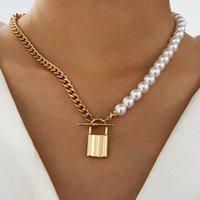 Ожерелья кулон Дубейдуо Модное асимметричное ожерелье для женщин творческий замок Пресноводный жемчужный цепь ключицы короткий металлический воротник