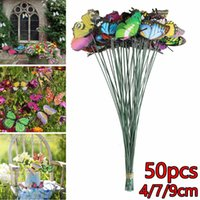 Decorative Flowers & Wreaths 50PCS Butterfly Stakes Outdoor Yard Planter Flower Pot Bed Garden Decor Art For Lawn, Home Decoration, Party