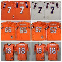 NCAA Ретро Футбол Винтаж 7 John Elway Jersey 57 Tom Jackson 65 Gary Zimmerman 18 Peyton Manning 84 Shannon Sharpe Orange Blue White