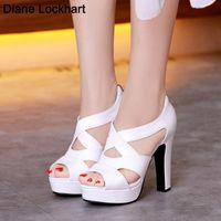 Sandals Summer Women Gladiator Sexy Designer Peep Toe Hollow Out High Heels Platform Party Ladies Shoes Zipper Sandales Femmes