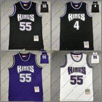 Homens retrô Basquetebol Sacramentocity Team Chris 4 Webber Jason 55 Williams Mitchellness Black Blue 1998-99 Hardwoods Classic Jersey