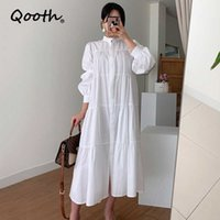 Qooth Stand-Up Collar Pleated Puff Sleeve Dress Single-Breasted Loose Long Womens Solid Causal Fashion QT613 210609
