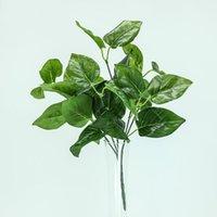 جديد الأخضر النباتات الاصطناعية البلاستيك أوراق الطوق مصنع وهمية أبل ورقة حزب لزهور زهرة ترتيب تدفق الزفاف ديكور